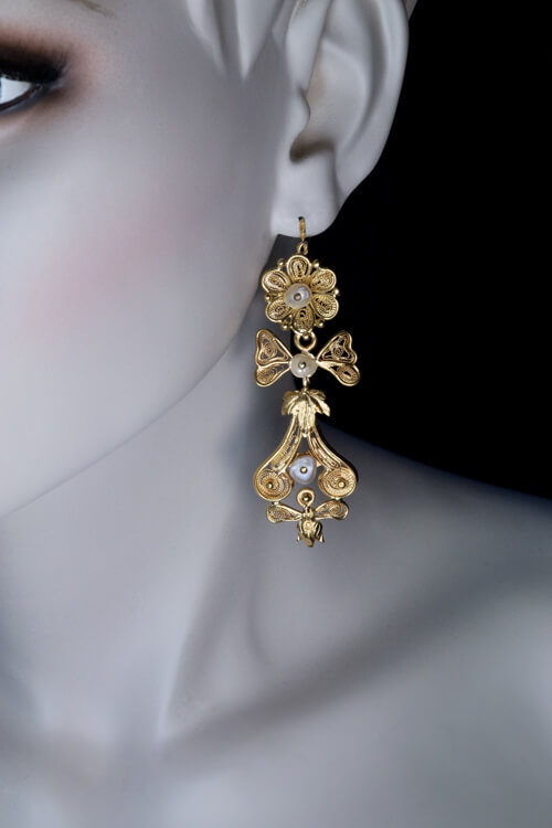 Antique 1800s Gold Filigree Pearl Quot Day To Night Quot Earrings