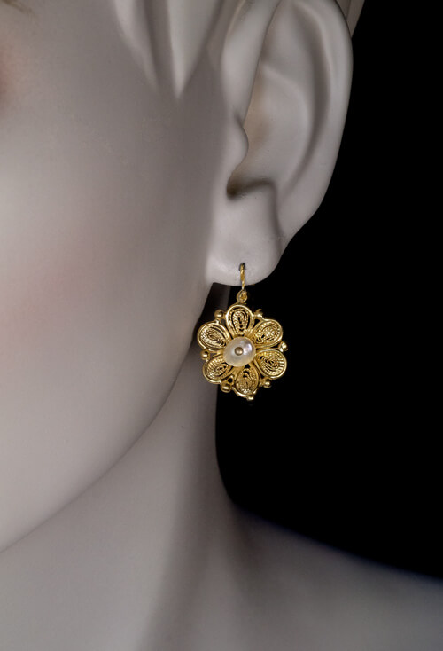 Antique 1800s Gold Filigree Pearl Day to Night Earrings Antique