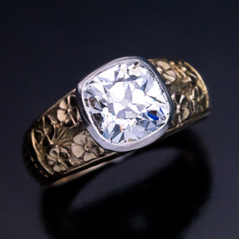 old cushion cut diamond gold ring