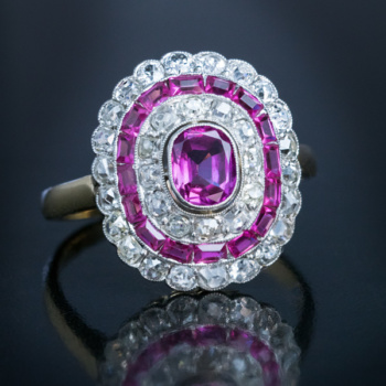 vintage Art Deco pink sapphire and diamond engagement ring