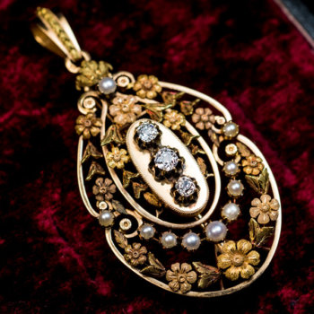 Belle Epoque antique French gold diamond pearl pendant necklace