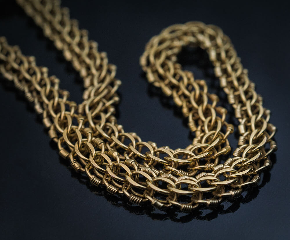 Antique Russian Imperial Era 80 Long Gold Braided Necklace