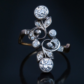Art Nouveau diamond floral ring