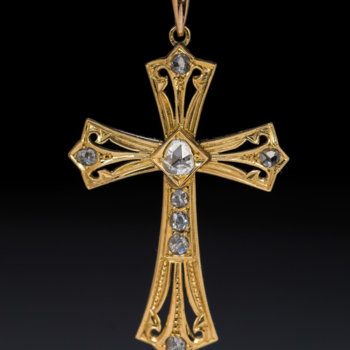 antique gold and rose cut diamond cross pendant