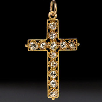 antique diamond gold cross pendant