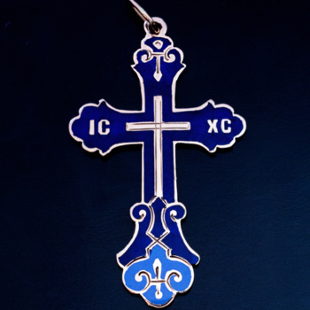 antique blue champleve enamel gold cross pendant 1880s
