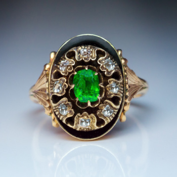 Victorian rings - antique late 1800s gold enamel diamond demantoid ring