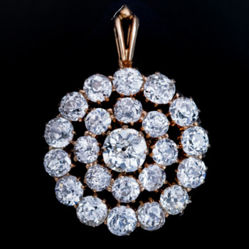 antique 1800s diamond cluster pendant