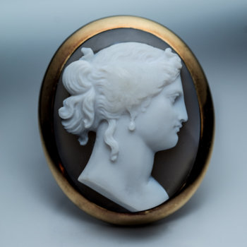 antique agate cameo brooch