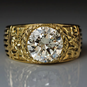 vintage 3 carat diamond gold men's ring