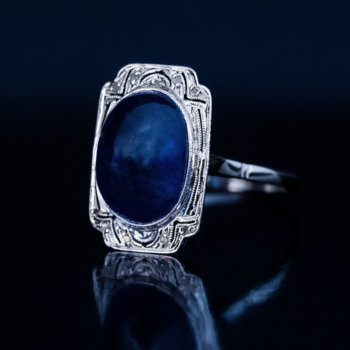 vintage cabochon sapphire engagement ring French Art Deco