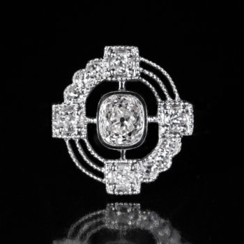 unusual diamond platinum engagement ring