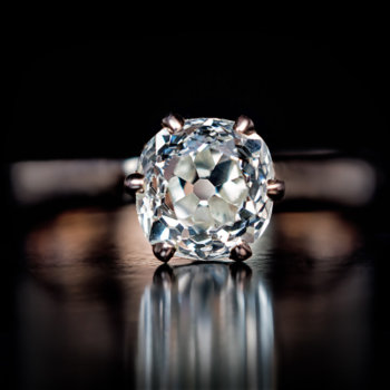 old cushion cut diamond antique engagement ring