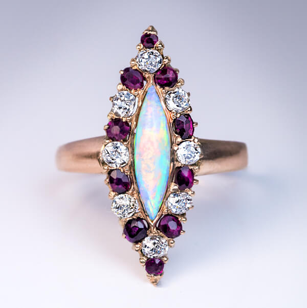 Antique Ruby Diamond Opal Marquise Shaped Ring Antique