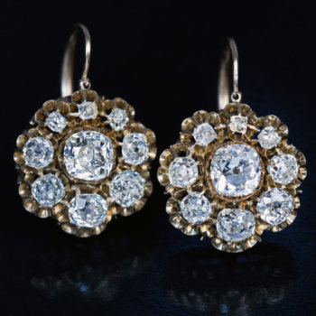 Antique Victorian diamond gold cluster earrings