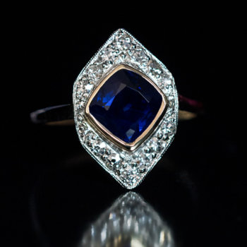 Art Deco vintage sapphire diamond engagement ring