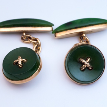 Carl Faberge nephrite jade and gold cufflinks