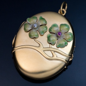 Art Nouveau enamel and gold flower locket pendant