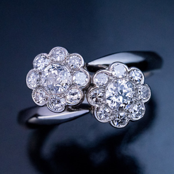 vintage double cluster diamond ring