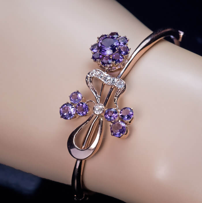 bangle stone com with product gem bangles amethyst florabee original green bee by flora silver notonthehighstreet