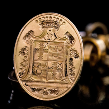 antique armorial gold fob seal
