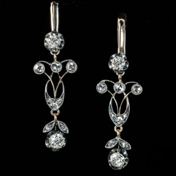 Antique Edwardian diamond pendant earrings