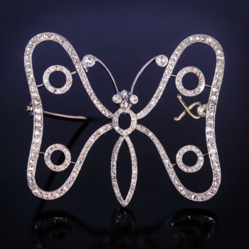 Art Nouveau jewelry - antique diamond butterfly brooch
