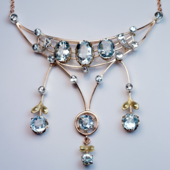 antique aquamarine gold pendant necklace - Edwardian jewelry