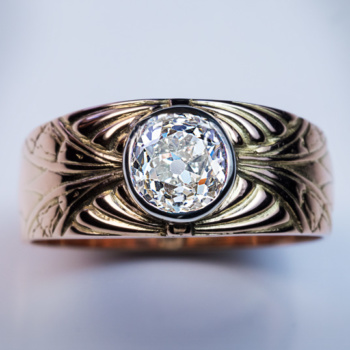 Vintage diamond gold mens ring