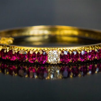 Antique ruby and diamond bangle bracelet