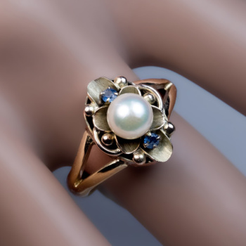 Antique Art Nouveau pearl ring