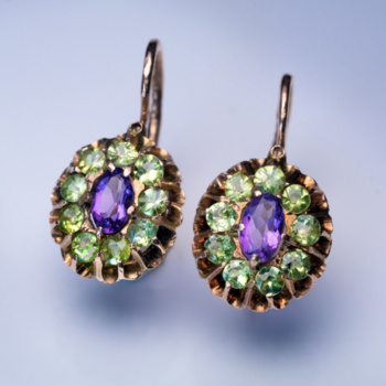 antique demantoid and amethyst gold cluster earrings