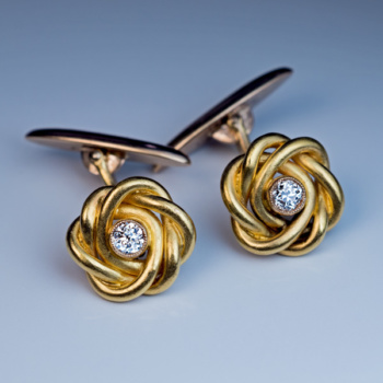 antique diamond gold cufflinks - men's jewelry