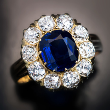 antique unheated sapphire and diamond cluster engagement ring