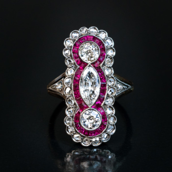 Edwardian jewelry - antique ruby and diamond ring