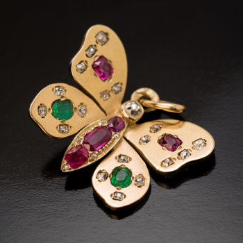 antique butterfly gold emerald ruby diamond pendant
