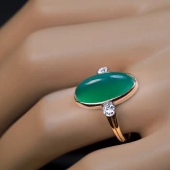 antique chrysoprase diamond ring