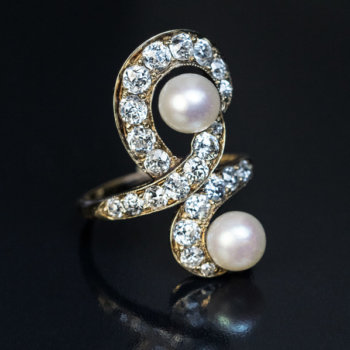 Belle Epoque antique diamond and pearl ring