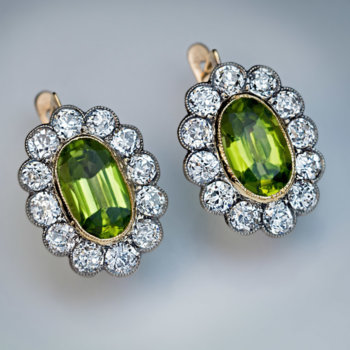 antique peridot and diamond cluster earrings
