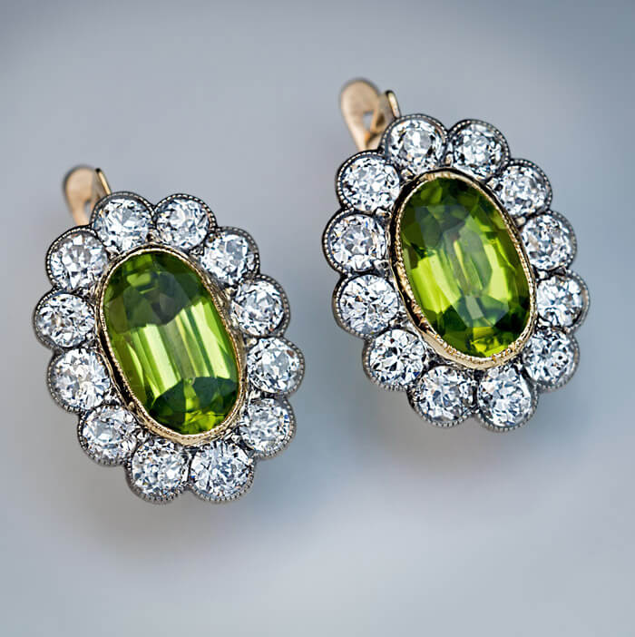 Antique Russian Peridot Diamond Cer Earrings Click On Images To Enlarge