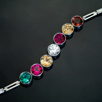 vintage diamond ruby tourmaline zircon platinum bracelet