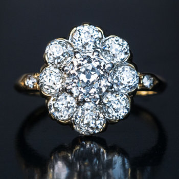 Vintage diamond engagement rings - diamond cluster ring