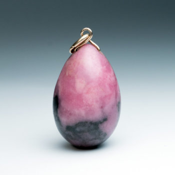 antique Russian gold mounted carved rhodonite egg pendant