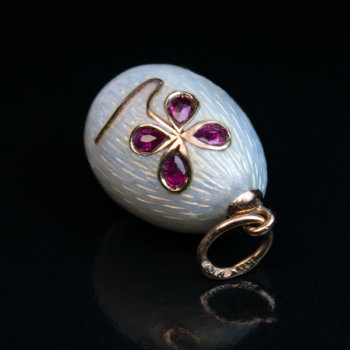 original Faberge miniature egg pendant - white guilloche enamel and ruby flower