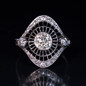 Art Deco diamond openwork ring