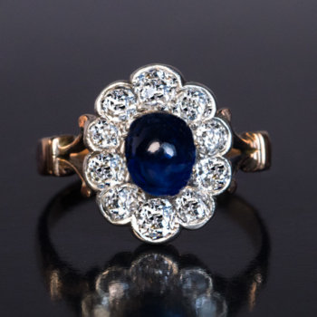 vintage sapphire diamond cluster ring