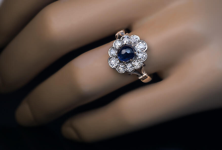 ring engagement gold halo diamond rings sapphire white cabochon blue cocktail