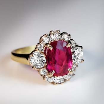 Vintage no heat untreated Burma ruby and diamond engagement ring