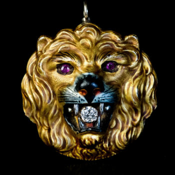 lion head pendant / brooch