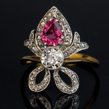heart shaped tourmaline diamond ring